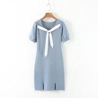 Midi Dress Korea Sexy Blue Knit Front Bow Import F-514305