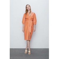 Midi Dress Korea Sexy Black Orange Elegant Import F-514242