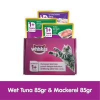 WHISKAS® Pouch Tuna 85g (2pcs) dan Whiskas Pouch 85g Mackerel (1pcs)