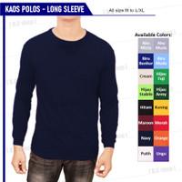 Baju Kaos Polos Pria Lengan Panjang Karet Biru Navy Premium