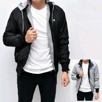 Jacket Jaket BB Bolak Balik Pria Laki Cowok 2 In 1 Hoodie Parasut - Hitam, L