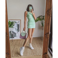 Mini Dress Korea Sexy Green Side Dawnstring Import F-513666