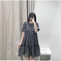 Mini Dress Korea Sexy Black Casual Grid Import F-514053