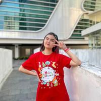 Kaos LCC cotton natal edision santa belt - Merah, anak L