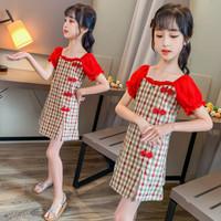 Cheongsam Dress Anak Perempuan /Musim Panas - Merah, 160cm