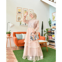 dress brukat dress pesta gamis gaun - Cream