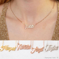Kalung nama simple(lapis emas18k) - rose gold
