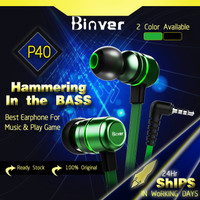 Binver P40 Earphone Gaming Headset Gaming 4D Sound L Shape Jack Port