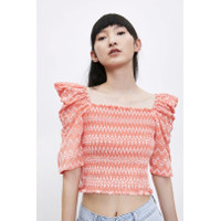 Baju Atasan Blouse Korea Red Zigzag Pattern Import F-514152