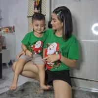 Kaos LCC cotton natal edision santa bulat - Hijau, anak L