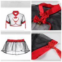 Wanita Set Cosplay transparan cheongsam anime A395