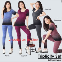 Set Top Legging Baju Senam Wanita Yoga Gym Zumba Fitness Aerobic