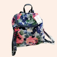 Cath Kidston Suede Backpack Navy Pink Floral BNWT