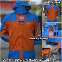 JACK WOLFSKIN F1517 JAKET GUNUNG OUTDOOR PREMIUM TEXAPORE WATERPROOF - Orange, L
