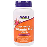 Now Foods Vitamin D3 High Potency, 1000IU, 180 Softgels