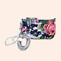 Cath Kidston Demi Bag Suede Pink Navy Floral BNWT