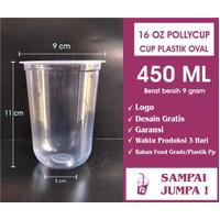 Sablon Cup Gelas Plastik 16 OZ 16OZ OVAL Pollycup 9GR + CUSTOM LOGO