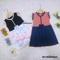 Dress Lala 3-4 tahun / Dress Anak Perempuan Cewek Baju Dres Batik - Warna Gelap