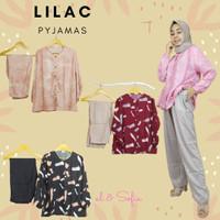 Pakaian Wanita Baju Tidur Setelan Lilac Piyama Full Kancing