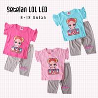 Baju Setelan Anak Perempuan LOL LED Nyala Celana Pendek Abu 6-18bulan