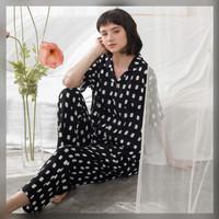 Alice Set in Calm Black - Sleepwear / Piyama Baju Tidur Rayon by RAHA