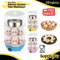Alat Pengukus Steamer Perebus Telur Elektrik 3 Susun Egg Cooker Boiler