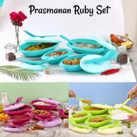 RUBY Prasmanan SET + 4pcs Sendok / Wadah Saji Makanan Prasmanan RUBY