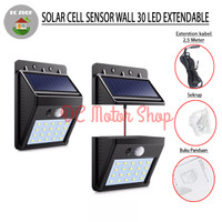 Solar Cell Lampu Dinding Taman 30 LED Lampu dan Solar Dipisah 2.5m