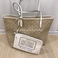 Coach Reversible Tote Bag In Signature Khaki & White - ORIGINAL 100%