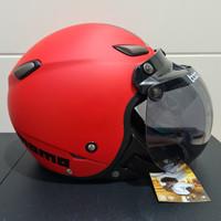 Helm JPN kawai momo merah doff kaca bogo