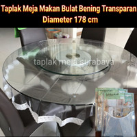 Taplak Meja Makan Bundar Bulat Plastik Bening Transparan 178 cm Meiwa