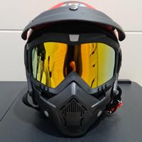 Helm JPN kawai momo merah doff googles mask