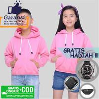 Jaket Anak Hoodie Jumper Sweater Polos Pria Wanita Baby Pink Tebal