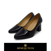 Sepatu kerja wanita casual heels pantofel hak tahu 7cm TT001BlackGloss - 36