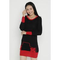 Mobile Power Ladies Long Sleeve Midi Dress variation - Black OK30086 - Merah, S