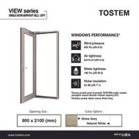 TOSTEM Aluminium Pintu Swing Kiri (Swing Door L), View - 800 x 2100 mm, Shine Grey