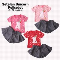 Setelan Anak Bayi Perempuan Unicorn Polkadot Rok Celana Denim 6-18bln