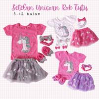 Baju Setelan Anak Bayi Perempuan set 4 in 1 Kaos Unicorn Rok Tutu