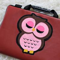 Tas Laptop OWL Type 2 Maroon Abu Kulit 10 - 17 Inch Softcase Notebook