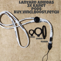 ( Free 3x karet ) Lanyard Adiddas White Gantungan tali Pods./hp vap0r