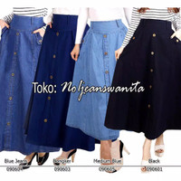 Rok Jeans Panjang Wanita - Soft Blue