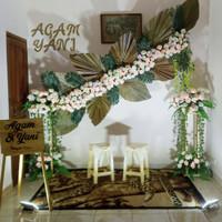 sewa backdrop rustic palm, backdrop akad, backdrop lamaran murah