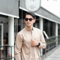 Kemeja Pria / Kemeja Pria Tog V / Kemeja Lengan Panjang / Kemeja putih - Sofbrown, M