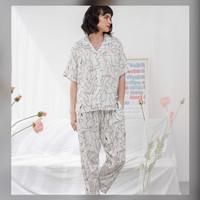 Alice Set in White Sketch - Sleepwear Piyama Baju Tidur Rayon by RAHA