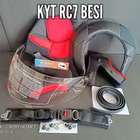 Kaca Helm + Busa Helm KYT RC7 besi, Baut nut, Lis karet, tali Helm