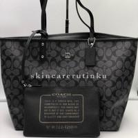 Coach Reversible Tote Bag In Signature Black Smoke - ORIGINAL 100%