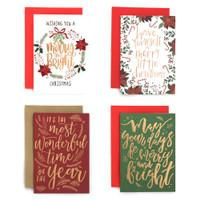 Paket isi 4 Kartu Natal Christmas Harvest Christmas Xmas Joyful