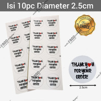 Sticker label tempelan kue roti thank you for your order BULAT putih