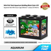 Aquarium Ikan Mini Fish Tank Block Building Akuarium Susun Lego Led