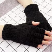 sarung tangan rajut hitam setengah jari hangat musim dingin puncak